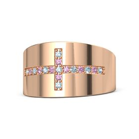 18K Rose Gold Ring with Aquamarine and Pink Tourmaline