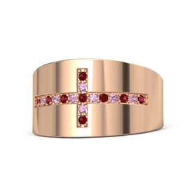 18K Rose Gold Ring with Ruby and Pink Tourmaline