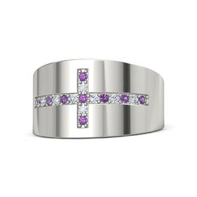 18K White Gold Ring with Amethyst and Diamond