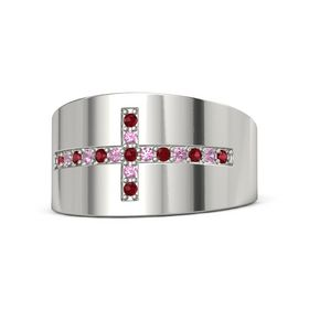 18K White Gold Ring with Ruby and Pink Tourmaline