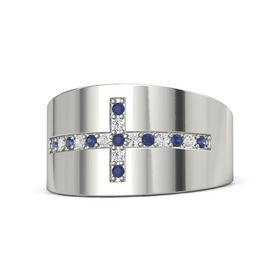 18K White Gold Ring with Blue Sapphire and White Sapphire