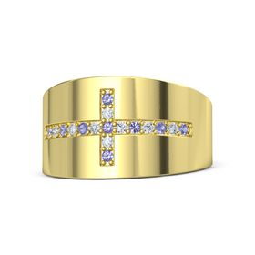 18K Yellow Gold Ring with Iolite and Diamond
