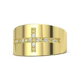 18K Yellow Gold Ring with Yellow Sapphire and Diamond