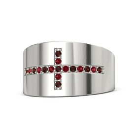 Palladium Ring with Red Garnet and Ruby