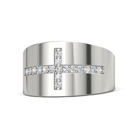 Platinum Ring with White Sapphire & Diamond