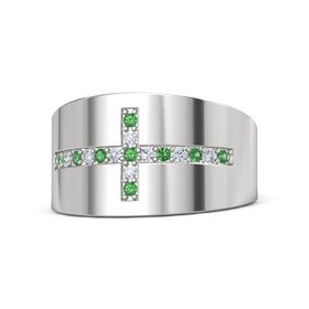 Sterling Silver Ring with Emerald & Diamond