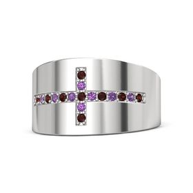 Sterling Silver Ring with Red Garnet & Amethyst