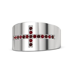 Sterling Silver Ring with Red Garnet & Ruby