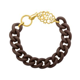 Brown Link Bracelet with Cubic Zirconia