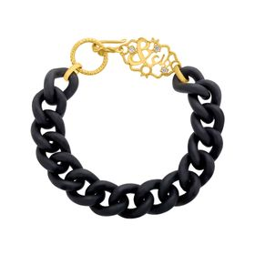 Black Link Bracelet with Cubic Zirconia