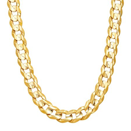 2dcc6542b9755 Just Gold Men's Concave Curb Chain Necklace in 10K Gold, 22