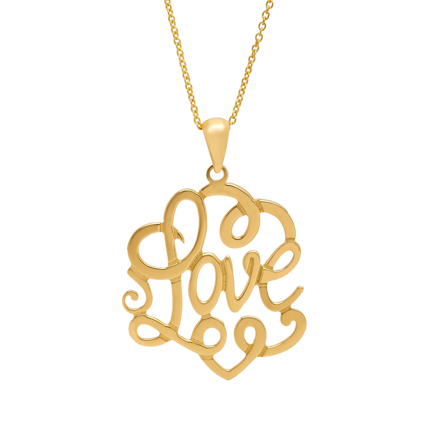 Script love filigree pendant in 14k gold plated sterling silver script love filigree pendant mozeypictures Images