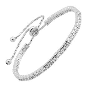 Tennis Bolo Bracelet With Cubic Zirconia, White