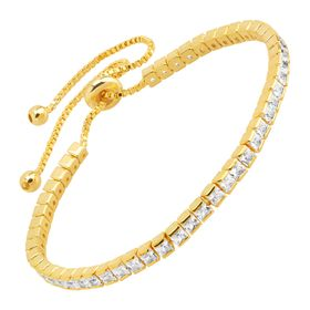 Tennis Bolo Bracelet With Cubic Zirconia, Yellow