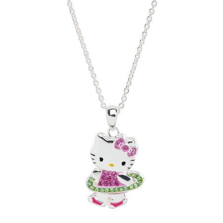 Hello Kitty Hula Hoop Pendant with Crystals