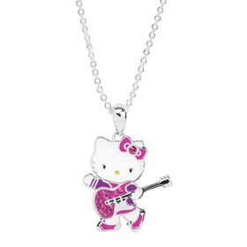 Hello Kitty Guitar Pendant with Crystals