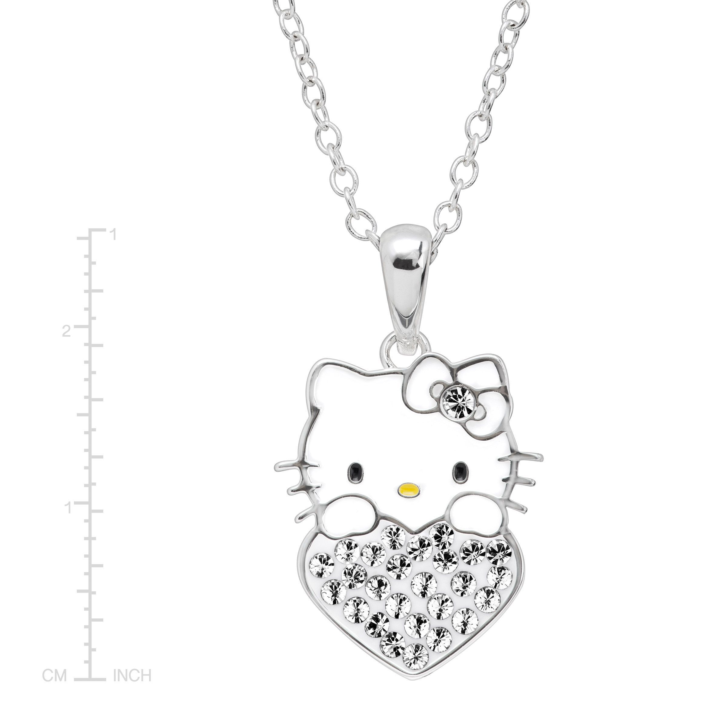 Girl/'s Hello Kitty June Heart Pendant with Crystals in Silver-Plated Brass