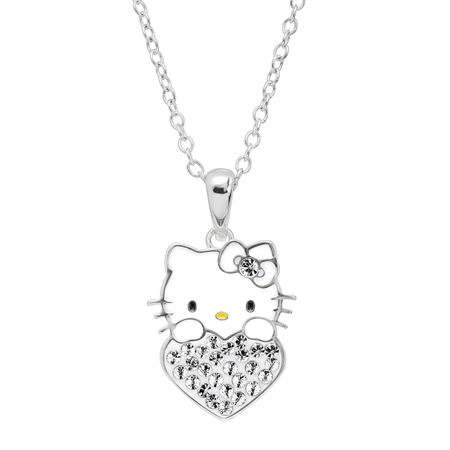 Girl's Hello Kitty April Heart Pendant with Crystals
