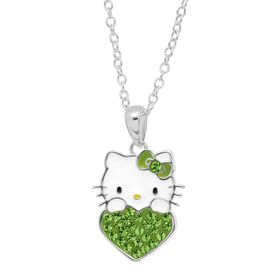 Girl's Hello Kitty August Heart Pendant with Crystals