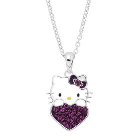 Girl's Hello Kitty February Heart Pendant with Crystals