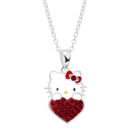Girl's Hello Kitty January Heart Pendant with Crystals