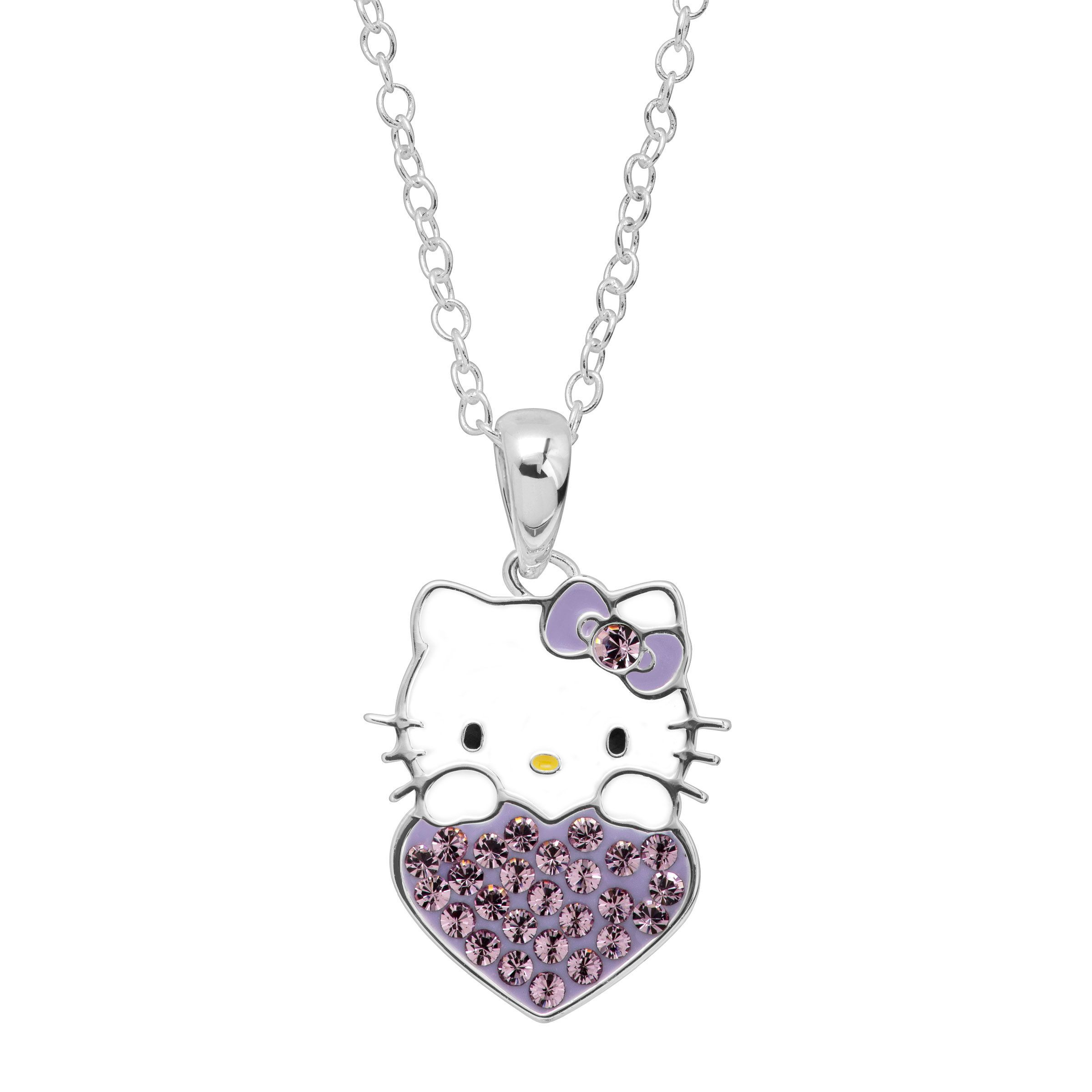 85eed723c Girl's Hello Kitty June Heart Pendant with Crystals in Silver-Plated Brass