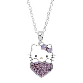 Girl's Hello Kitty June Heart Pendant with Crystals