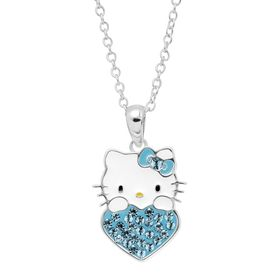 Girl's Hello Kitty March Heart Pendant with Crystals