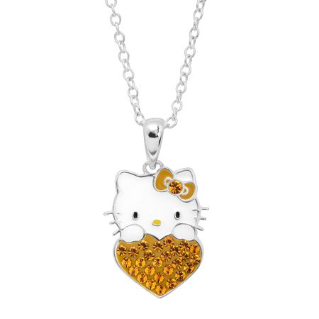 Girl's Hello Kitty November Heart Pendant with Crystals