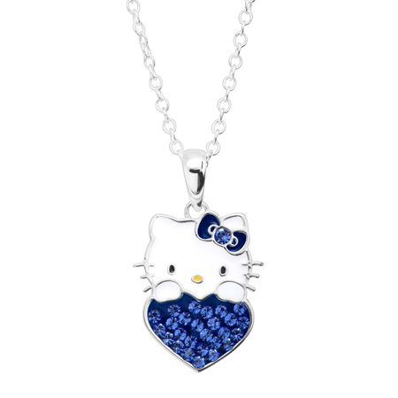 Girl's Hello Kitty September Heart Pendant with Crystals