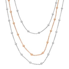 Triple Strand Beaded Station Chain Necklace