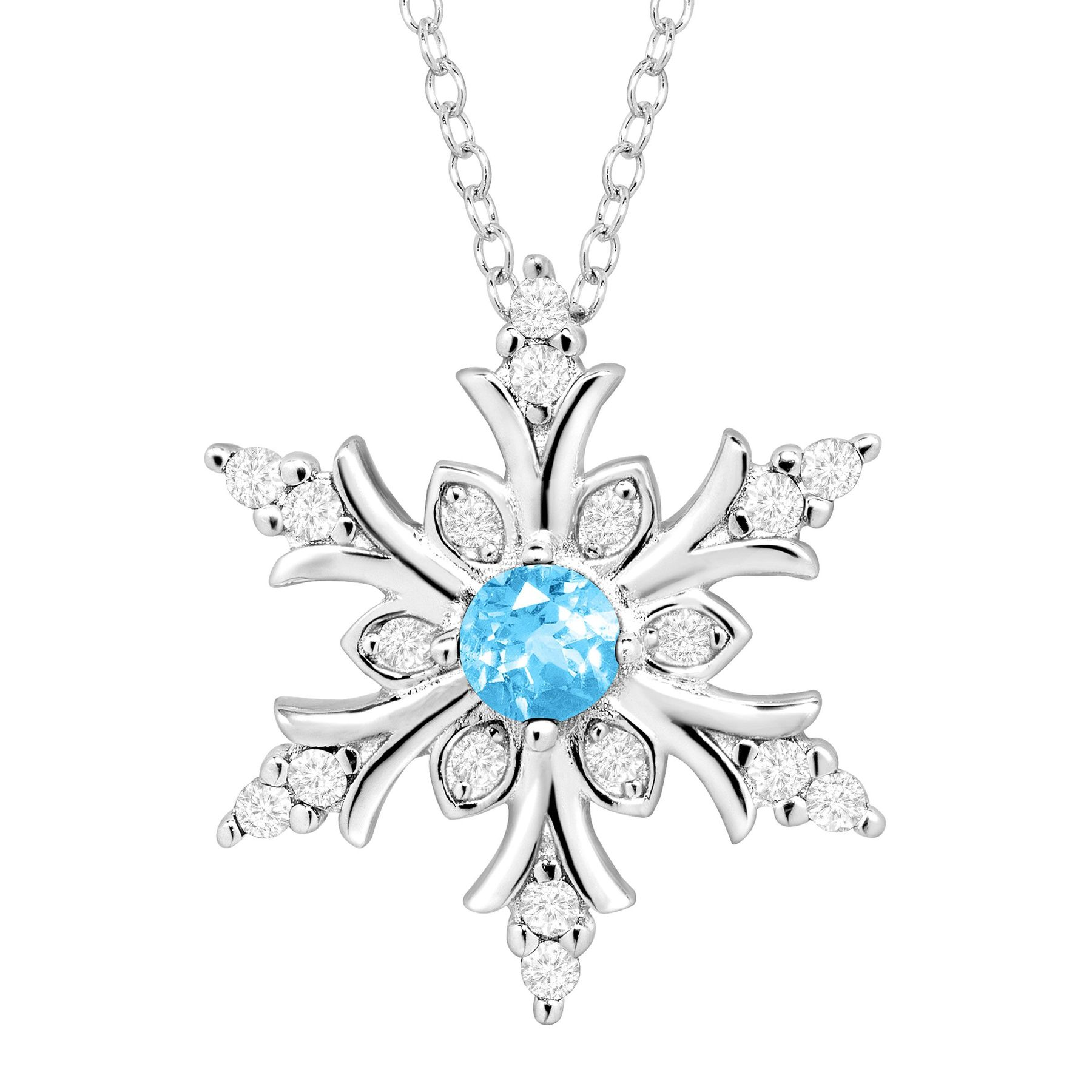 dod natural necklace itm diamond snowflake accent ebay colors silver