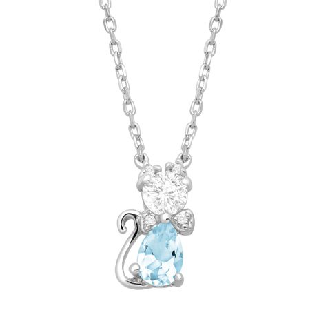 7/8 ct Blue Topaz & Cubic Zirconia Cat Pendant