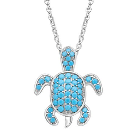 Turtle Pendant with Teal Cubic Zirconia