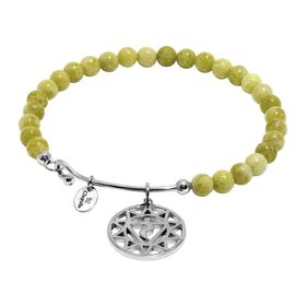 'Solar Plexus' Lemon Jade Agate Charm Bangle Bracelet