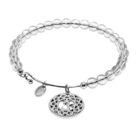 'Crown' White Crystal Charm Bangle Bracelet