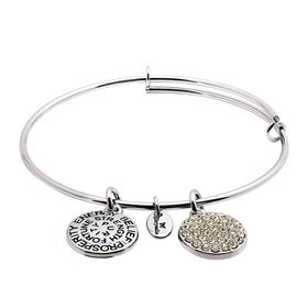 April Bangle Bracelet with White Swarovski Crystals