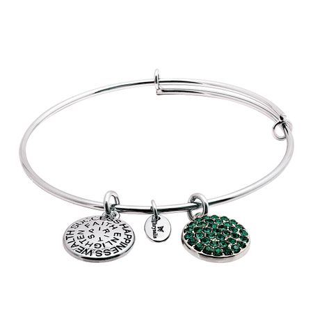 May Bangle Bracelet with Green Swarovski Crystals