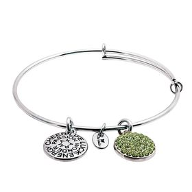 August Bangle Bracelet with Light Green Swarovski Crystals
