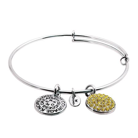 November Bangle Bracelet with Yellow Swarovski Crystals