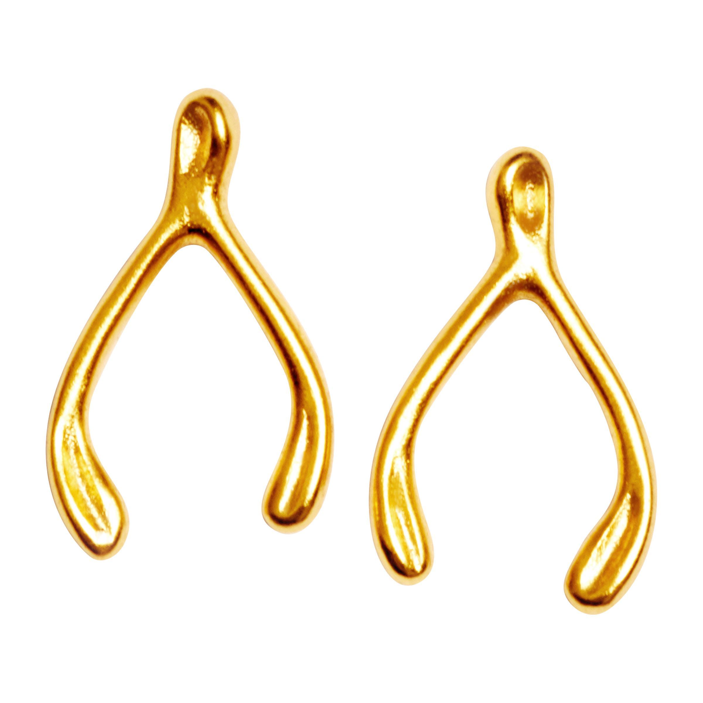 Details About Chrysalis Charmed 14k Gold Flashed Br Wishbone Stud Earrings