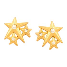 'Lucky Star' Stud Earrings, Yellow