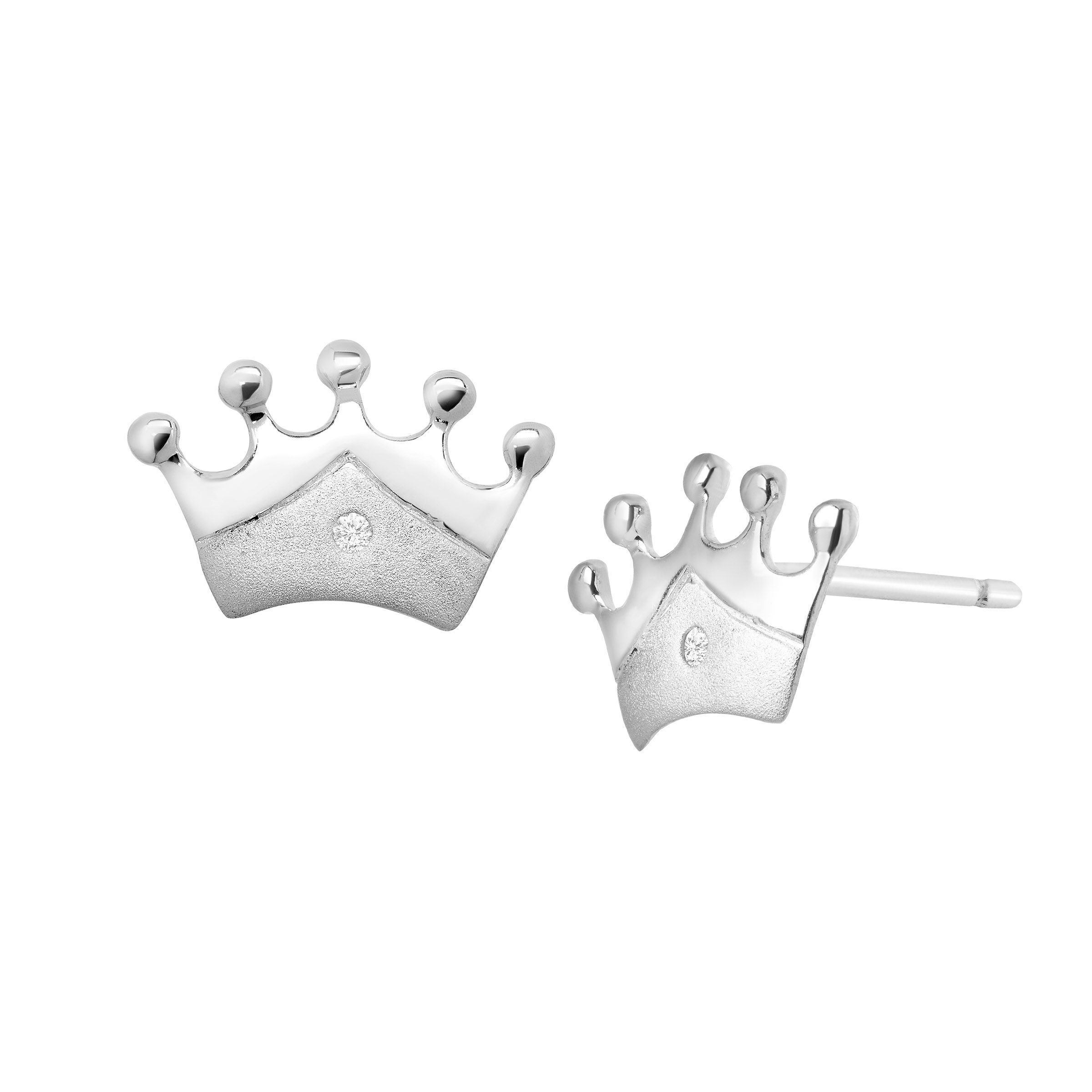 Details About S Princess Crown Stud Earrings With Diamonds In Sterling Silver