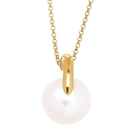 12-13 mm Button Pearl Offset Pendant