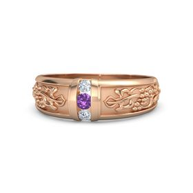 Men's 14K Rose Gold Ring with Amethyst & Diamond