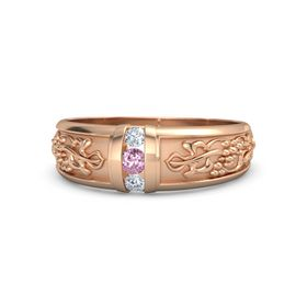 Men's 14K Rose Gold Ring with Pink Sapphire & Diamond