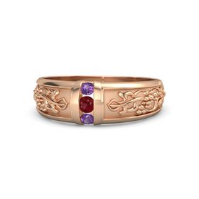 Men's 14K Rose Gold Ring with Ruby & Amethyst