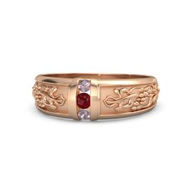14K Rose Gold Ring with Ruby and Rhodolite Garnet