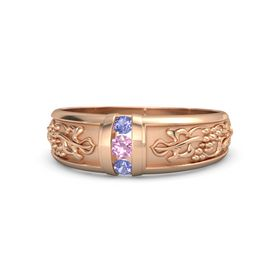 14K Rose Gold Ring with Pink Tourmaline and Iolite