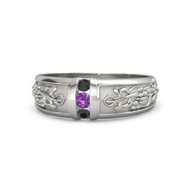 Men's 14K White Gold Ring with Amethyst & Black Diamond